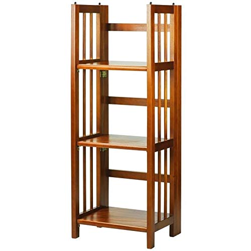 MISC Honey Oak Folding Bookcase Collapsible Book Case 3 Shelf Fold Up Wooden Stylish