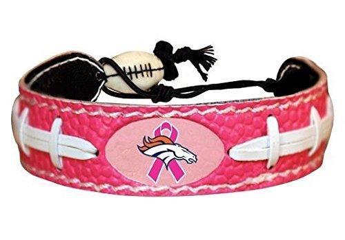 Leather Denver Broncos Bracelets - NFL Denver Broncos Breast Cancer Awareness Ribbon Pink Football Bracelet