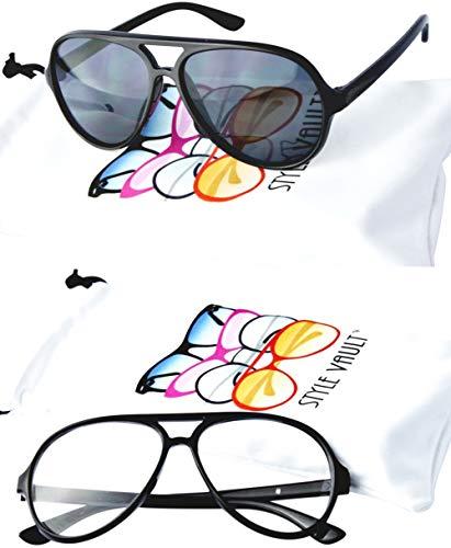 K003 infant toddler baby Kids (0~36 month old) Aviator turbo clear lens Glassses sunglasses (Pack of 2(Black-clear+Black-dark lens), ()