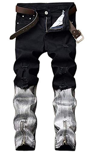 Manguito D Jeans Tinta Tee Agujero Verano Del Sport Negro Juventud Estiramiento Inyección Clásico Diseño Straight Del Cierre Blanco Pantalones Del Algodón Del De Libre Al De Hombres Skinny Jogging Aire Slim TwCxvpqa