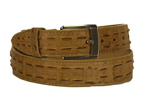 Men' Belt Crocodile Alligator Head Cut Design Embossed Leather Cowboy Western Beige (44)