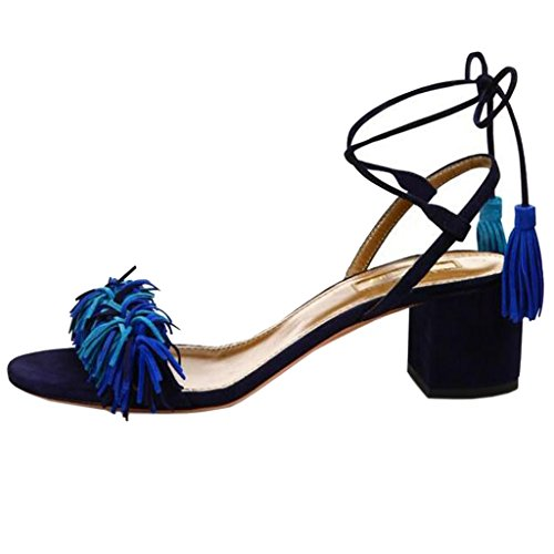Lovirs Womens Open Toe Ankle Ties Chunky Heel Fringed Suede Sandals Dress Causal Shoes Multicolored Us0XStl