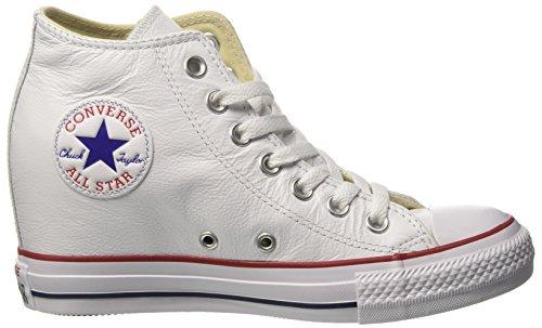 Damen 549560c Hohe Sneaker, Elfenbein (White/White/Clemantis Blue), 38.5 EU Converse