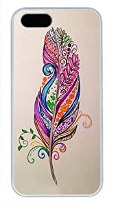 Protective PC Case Skin for iphone 5 White Fashion PC Case Back Cover Shell for iphone 5S with Colourful Feathers