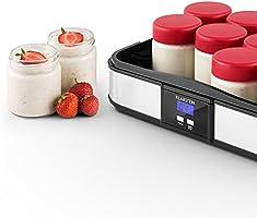 Klarstein Gaia Yogurtera (12 tarros 210 ml, volumen total 2,5 litros, temporizador, pantalla LCD, hasta 12 porciones yogur casero, máquina para preparar yogurt acero inoxidable, libre de BPA, negro: Amazon.es: Hogar