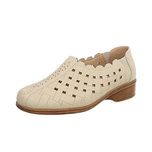 Ital-Design Women's Loafer Flats Kitten Heel Slippers at Beige 3BrlyA7K