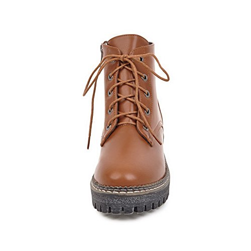 AgooLar Women's Kitten-Heels Solid Lace-up PU Round-Toe Boots Brown nLOD5ogZ