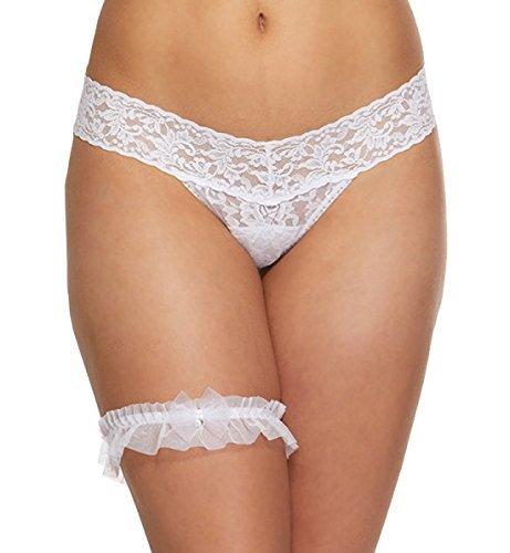 Hanky Panky Crystal Bow Low Rise Thong & Matching Garter Box Set #481911BX (Bridal Bow Low Rise Thong)