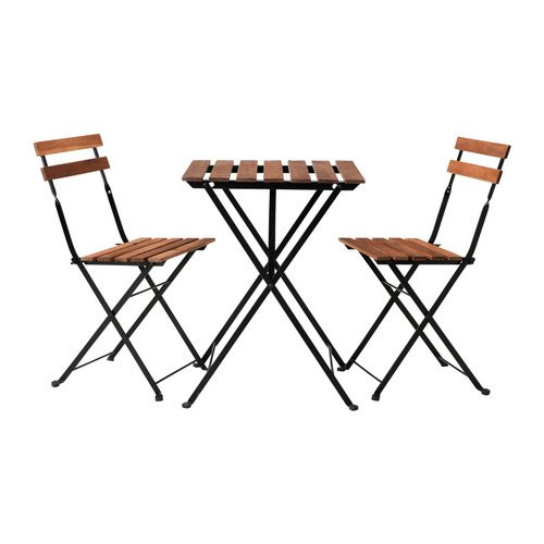 Ikea Outdoor Foldable Bistro Table and 2 chairs, Black acacia, Gray-Brown Stained Steel