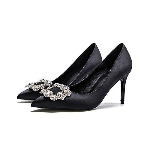 Amende 3 Mariage Hauts La Talon Chaussures Faux Diamant Pu Talons Pointu 8cm Femme Sunny Peu Soie F338 Bouche Noir Profonde Simples z51qfq