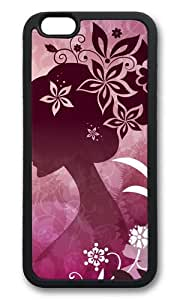 iPhone 6 Case,VUTTOO iPhone 6 Cover With Photo: Woman With Flowers For Apple iPhone 6 4.7Inch - TPU Black