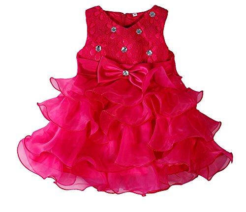 Baby Cumpleaños Ruffle Rose vestido Boda ZAMME Floración Girl Organza dHqdAO