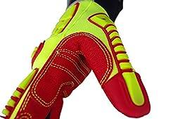 Seibertron HIGH-VIS HRIG Impact Deep Grip Oil Resistant Impact Protection Oilfield Safety Rigger Gloves CE EN388 4132 L