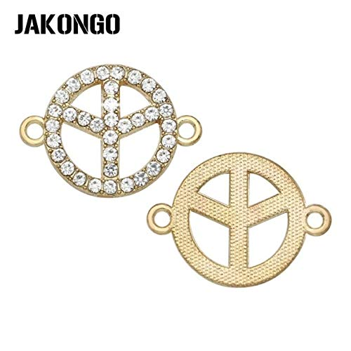 (Kamas Silver Plated Crystal Peace Sign Charm Connector for Jewelry Making Bracelet Accessories Findings Handmade DIY 25x18mm - (Color: Gold))