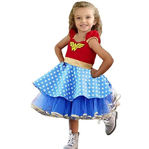 Best Costume For A Halloween Party (TYHTYM Wonder Woman Costume Little Girls Dress Up Superhero Cosplay Halloween Party Birthday)