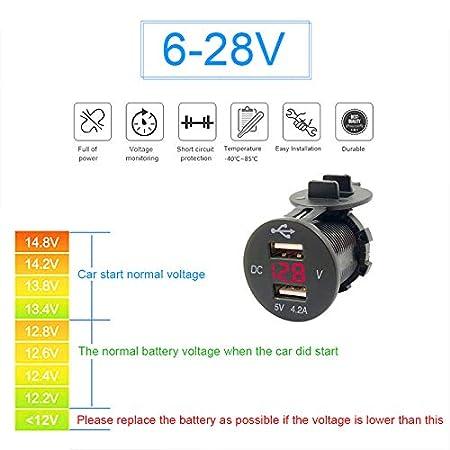 Verde YGL Dual USB Caricabatteria per Auto 2.1A e 2.1A Presa USB GUIDATO Voltmetro Digitale Adattatore di Carica Veloce per Car Boat Marine