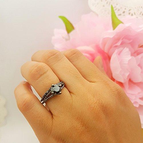 1.35 Carat (Ctw) Black Rhodium Plated Silver Black Diamond Ladies Bridal Engagement Ring Set (Size 6.5) by DazzlingRock Collection (Image #5)