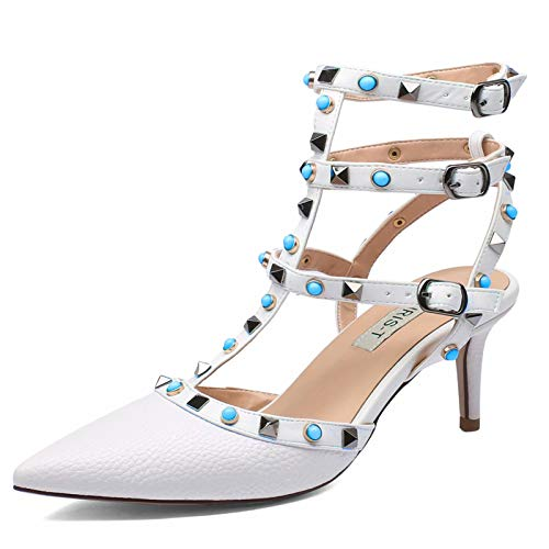 1d6d312c0f3 Chris-T Women s Pointy Toe Buckle Sandals Studded Slingback Kitten Heels  Studs Leather Dress Pumps