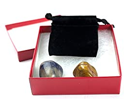 Siddhartha Buddha Face Water Fountain Statue with LED Light, 2 Healing Stones in Drawstring Pouch and Presentation Box (5 Piece Bundle) 27367