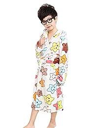Genda 2Archer Little Boys Hooded Colored Star Robe Fleece Children's Bathrobe(3-9Y)