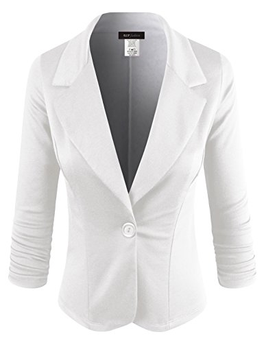 ELF FASHION Women Casual Work Knit Office Blazer Jacket Made in USA (Size S~3XL) White -