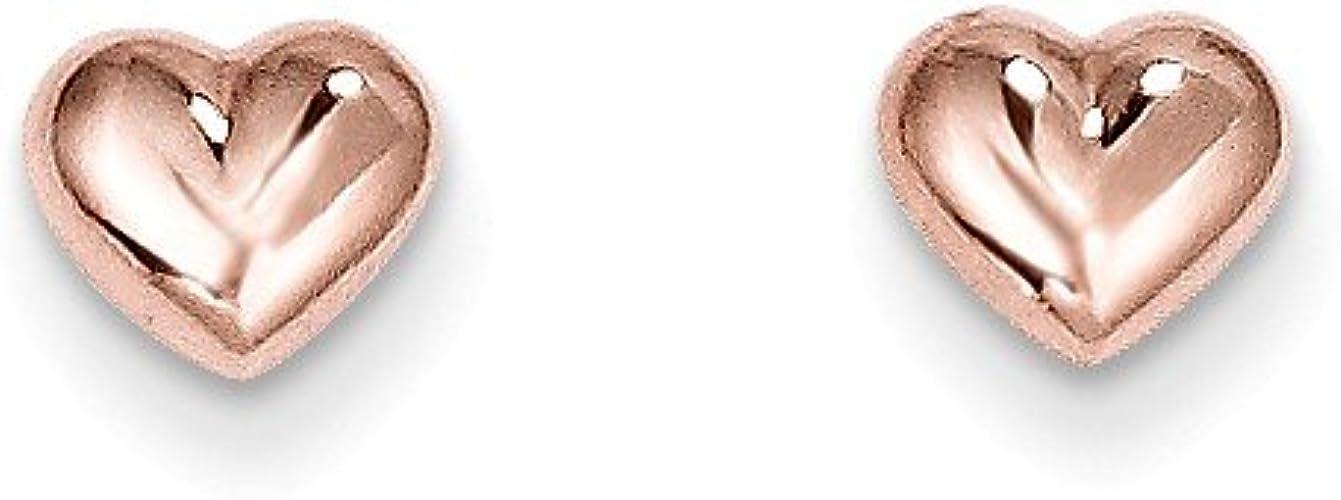 6MM LOVE HEART ROSE GOLD PLATED SOLID STERLING SILVER WOMEN GIRLS STUD EARRINGS