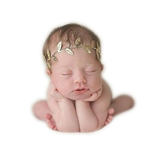 [Fashion Newborn Boy Girl Baby Photography Props Gold Leaf Headdress] (Fancy Dress Christmas Costume)