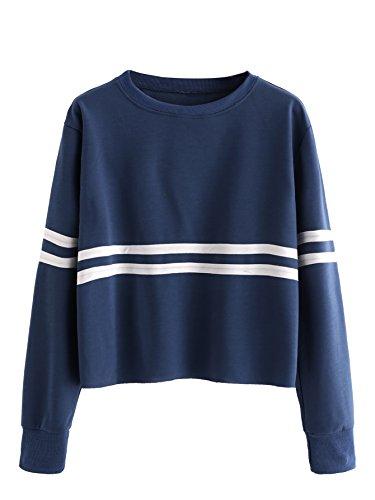 ROMWE Women's Casual Striped Long Sleeve Crop Top Sweatshirt Navy (Striped Sweatshirt)