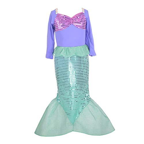 Dressy Daisy Girls Princess Mermaid Dressing Up Costumes Halloween Fancy Dress Size 6 / (Dressing Up Costumes Childrens)