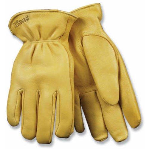 KINCO 90HK-M Men's Lined Grain Deerskin Gloves, Heat Keep Lining, Double Shirred Elastic Back, Medium, Golden ()