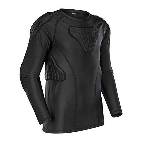 Youth Boys Padded Shirt Padded Compression Sports Protective T-Shirt Rib Chest Protector Extreme Exercise (Long Football Padded Shirt Sleeve)