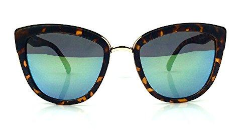 Cat Eye Mirrored Reflective Lenses Pointy Edges Ronnete Women Oversized Sunglasses (Tortoise Matte Green - Pointy Shades