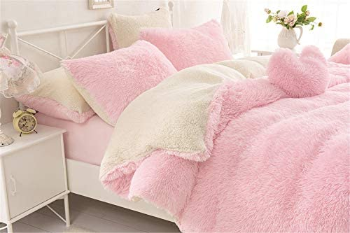 MooWoo 1pc Faux Fur Duvet Cover,Sherpa Plush Fluffy, Solid Color, No Inside Filler, Zipper Close and Ties Pink, 1 PCS Queen Duvet Cover