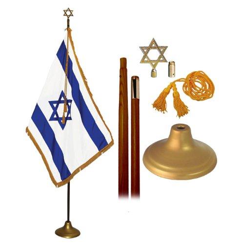 Israel Indoor Flag Set 3X5 Foot With 8 Foot Oak Flagpole