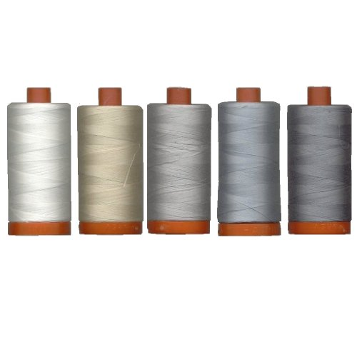 Aurifil Mako' Cotton 50 wt Thread, Quilter's Ideal Set of 5 Essential Piecing Colors, Large 1422 Yard Spools, Bundle of 5 Items