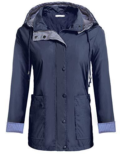 Zeagoo Women's Lightweight Jacket Long Sleeve Hooded Windproof Rain Coat Navy Blue XXL