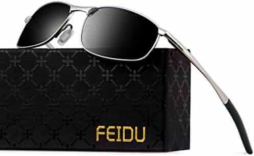 46f075da398 FEIDU Polarized Sport Mens Sunglasses HD Lens Metal Frame Driving Shades FD  9005 (Black