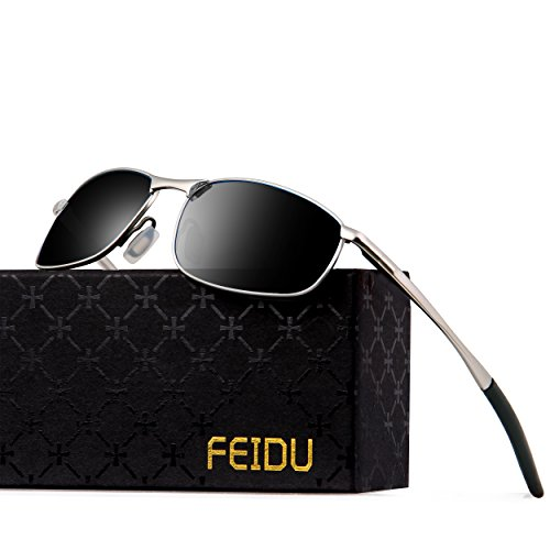 FEIDU Polarized Sport Mens Sunglasses HD Lens Metal Frame Driving Shades FD 9005 (Black /Silver, - Hd Vision Sunglasses