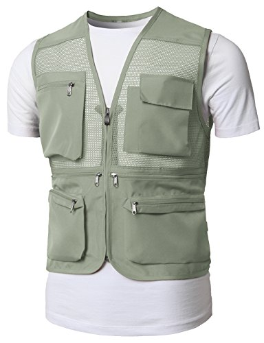 H2H Mens Fashion Casual Work Utility Hunting Travels Sports Vest With Multiple Pockets Beige US M/Asia L (KMOV0150) (Hunting Pocket)