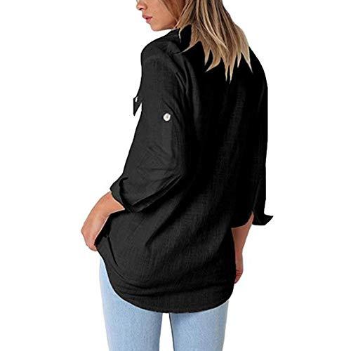 Chemisier Manches Femmes Noir Vrac Boutons Longues Lin Coton dcontract avec pour en de en pxXrpfCq