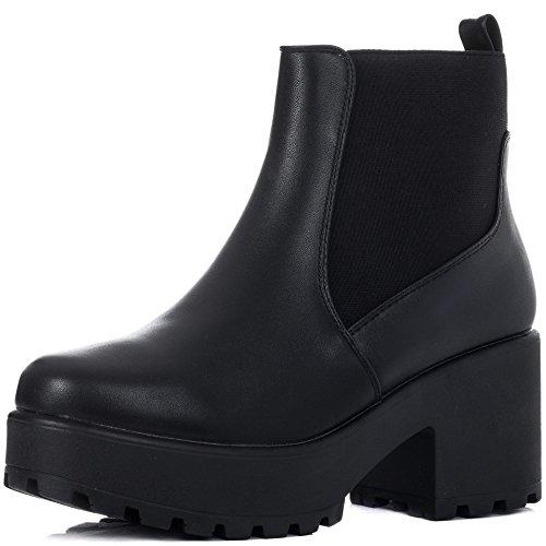 Leather Style Ankle Heel Block Boots Shoes Black Women's Spylovebuy Platform Bgspy wIvzXz
