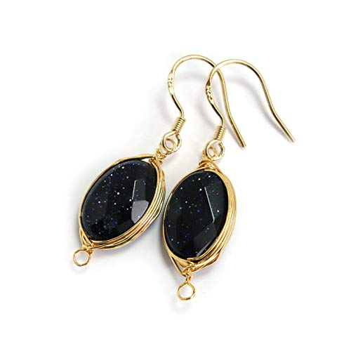 (Scutum Craft Natural Stone Dangle Drop Earrings with Gold Plated Wire Wrap and 925 Sterling Silver Hook Jewelry for Women (Blue Goldstone Oval Cut 13mm))