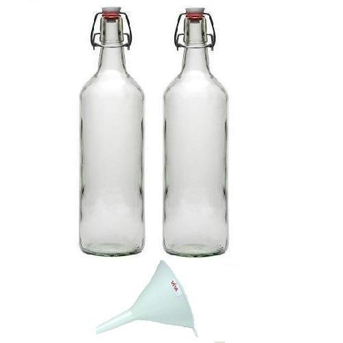 Viva Haushaltswaren - 2 Glasflaschen 1 L mit Bügelverschluss zum Selbstbefüllen inklusive einem weißem Einfülltrichter Durchmesser 12 cm