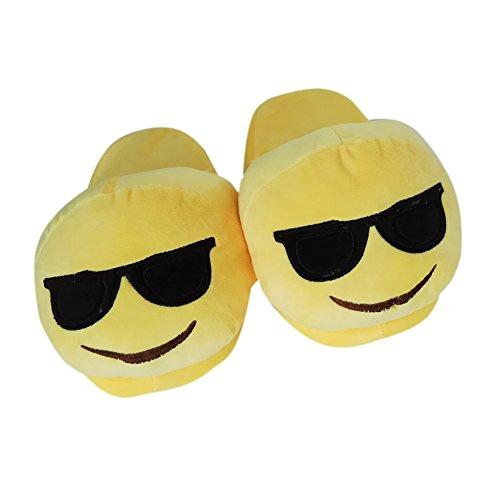 Emoji Emoticon Zapatillas Cómodo Térmica Vellocino Invierno Casa Zapatos Zapatillas E
