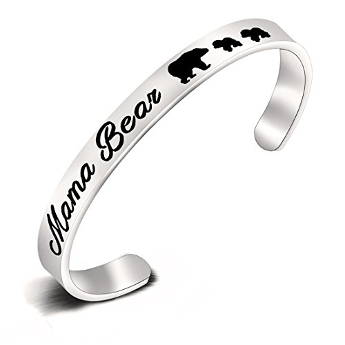 KUIYAI Sweet Family Mama and Baby Bear Cuff Bracelet Bangle Gift for Mothers (Bangle 2 Cubs) ()