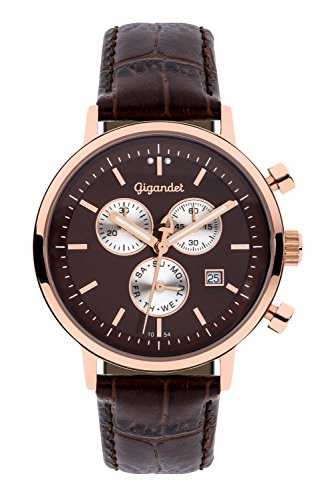 Gigandet Men's/Women's Quartz Watch Classico Chronograph Analog Leather Strap Rose Gold Brown G6-009