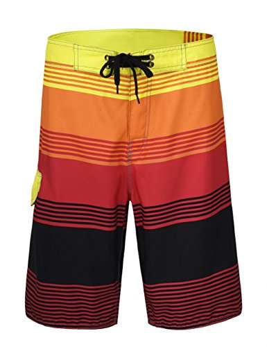 Hilor Men's Swim Trunk Quick Dry Beach Shorts Boardshorts Striped Pattern 2 Red - 24 Shorts Inch