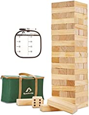 ApudArmis 60 PCS Giant Tumble Tower, (Stack up to 5Ft) Pine Wooden Stacking Timber Game with 1 Dice Set - Clas