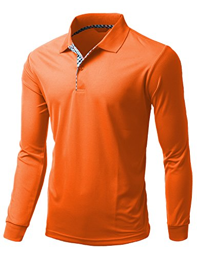 Fabric Design Shop (Men's Cool Max Fabric Sporty Design 2 Tone Plaid Collar Tee ORANGE size XL)