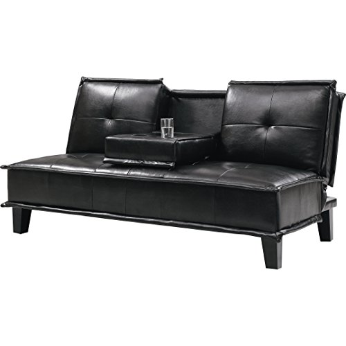 Convertible Sleep Sofa in Leather Like Vinyl Upholstery Flip-Down Tray with Cup Holders Tufted Back Sophisticated Black Look Plus FREE GIFT